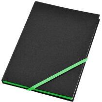 Cuaderno de notas A5 con cierre de cinta en color negro intenso personalizado
