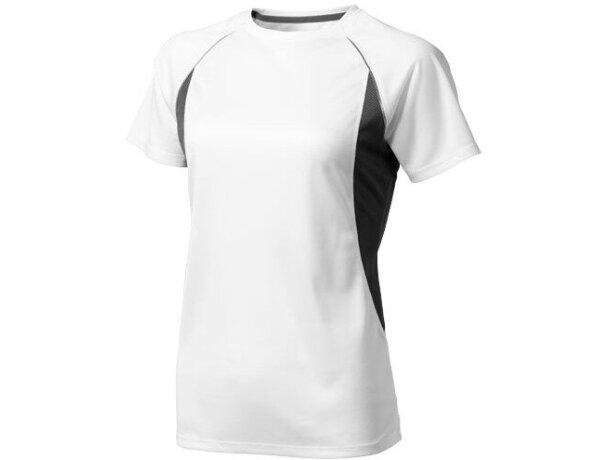 Camiseta técnica de manga corta blanca detalles de color de mujer con logo blanca