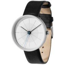 Reloj de regalo analógico con correa de piel personalizado negro intenso