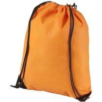 Mochila no tejido con cierre de cordón naranja