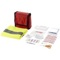 Botiquín de primeros auxilios con 18 piezas y chaleco reflectante rojo