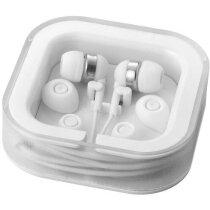 Auriculares con micrófono en el cable personalizado blanco