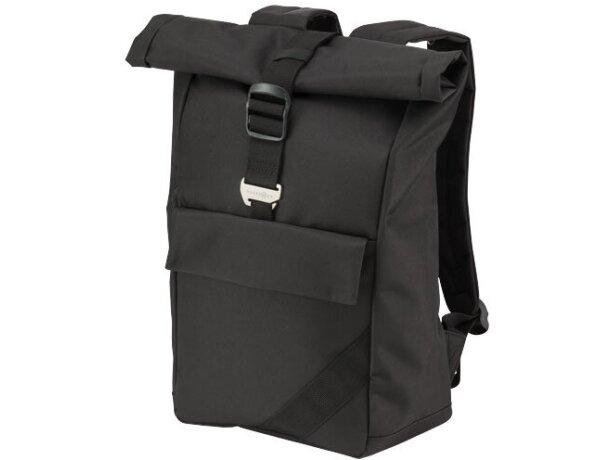 Mochila para portátil con tapa enrollable personalizada negro intenso