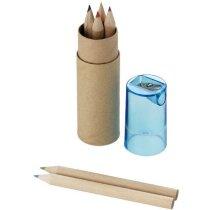 Cajita cilíndrica de cartón con lápices de colores