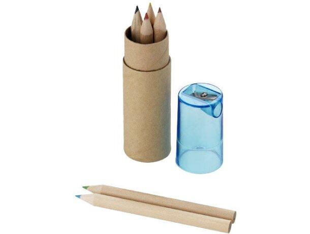Cajita cilíndrica de cartón con lápices de colores personalizada marrón