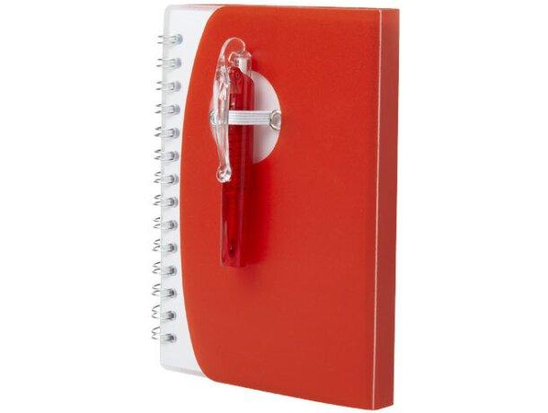 Libreta mini con boligrafo personalizada roja
