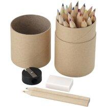 Estuche redondo de 26 lápices con goma personalizado madera