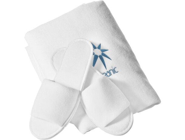 Set de regalo de toalla y zapatillas de hotel personalizado