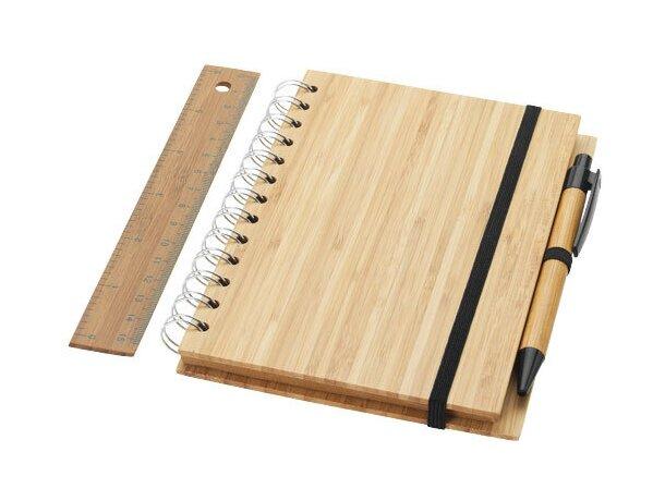 Set de libreta bolígrafo y regla de madera personalizado madera