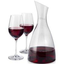 Set de vino de decantador y dos copas de cristal personalizado transparente