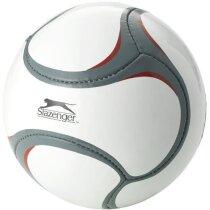 Balón de fútbol detalles grises y rojos blanco
