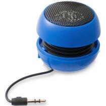 Altavoz mini redondo cono batería recargable azul medio