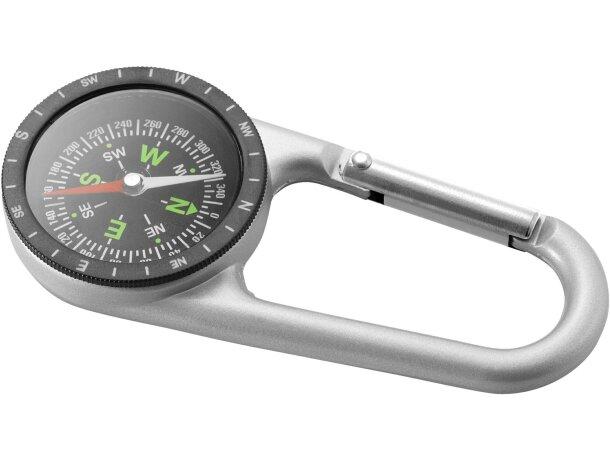 Brújula con mosquetón de metal personalizada plata