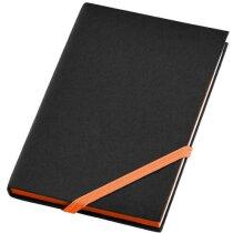 Libreta de tapas rígidas con cierre de cinta de color negro intenso
