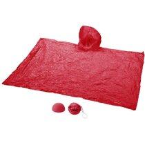 Llavero con poncho impermeable rojo