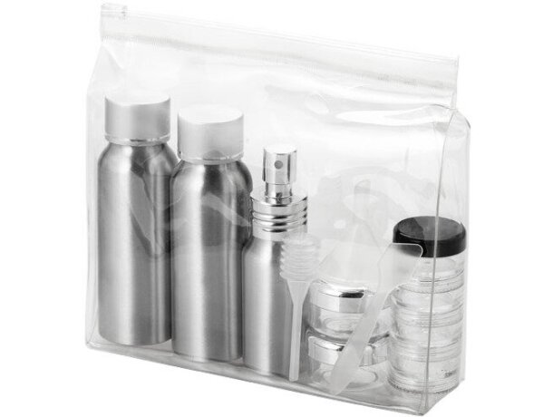 Neceser para líquidos con botes de aluminio personalizado transparente