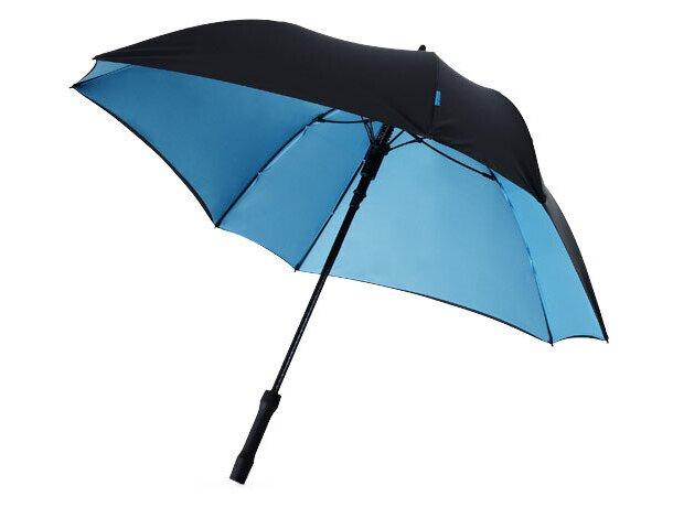 Paraguas modelo cuadrado con colores en el interior personalizado negro intenso