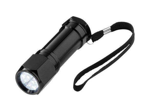 Linterna ligera de aluminio 8 leds personalizada negro intenso
