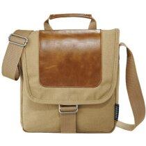 Bolsa bandolera de algodón y piel personalizada marrón claro