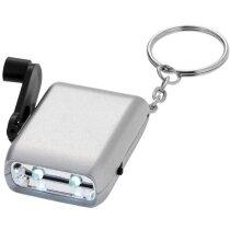 Llavero linterna dinamo personalizada plata