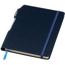 Bloc de notas con bolígrafo incluido azul marino personalizado
