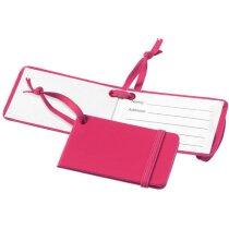 Etiqueta para equipaje con banda elástica de cierre rosa