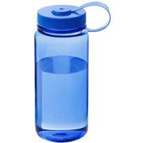 Botella sencilla de plástico con tapa rosca 650 ml barata azul transparente