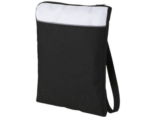Bolsa bandolera de poliéster 600d tamaño A4 personalizada negro intenso