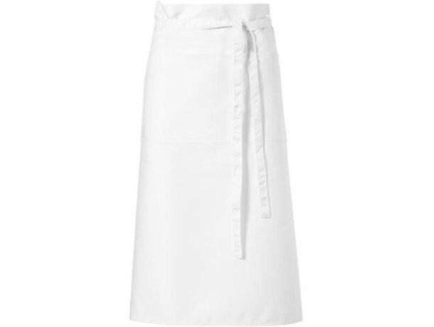 delantal de poliester con bolsillos para restaurante personalizado blanco