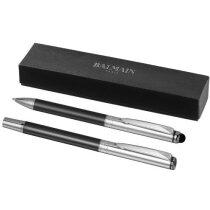 Set de bolígrafo con puntero y roller personalizado gris oscuro