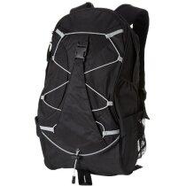 Mochila de trekking con cuerda y rejilla personalizada negro intenso