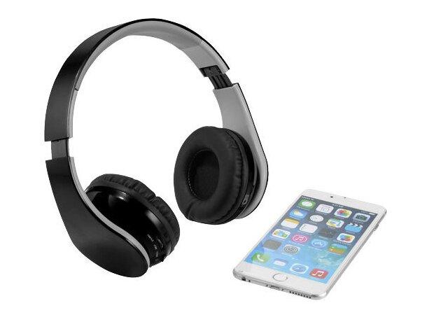 Auriculares potentes en plástico con bluetooth personalizado negro intenso
