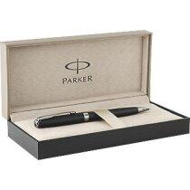 Estuche elegante con bolígrafo de metal personalizado negro intenso