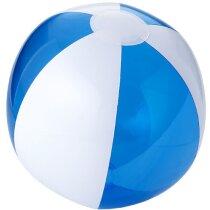 Pelota de playa pvc color blanco y transparente a rayas azul transparente grabado
