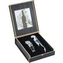 Set de vino de dos piezas en estuche de madera barato negro intenso