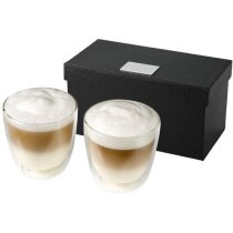 Set de dos tazas de café de 200 ml personalizada transparente