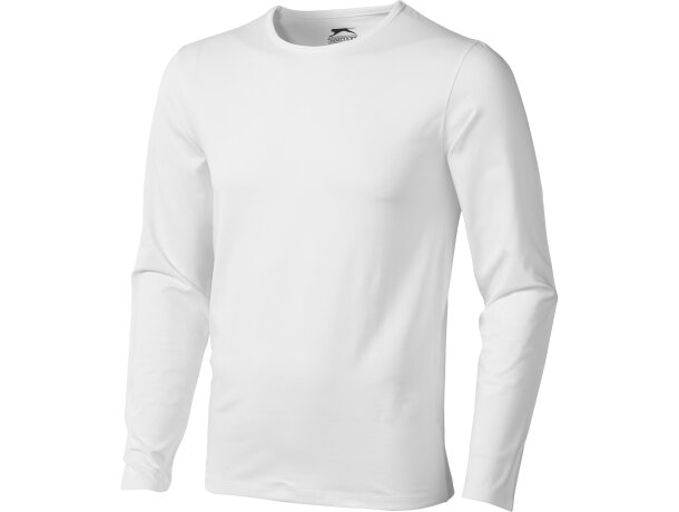 Camiseta manga larga de hombre ajustada 200 gr blanca