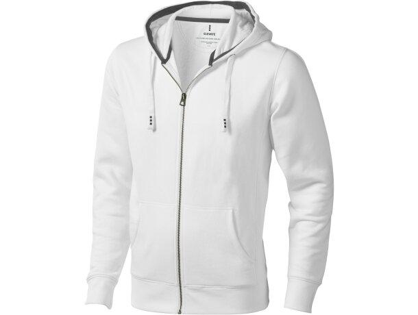 c6efd07f806 Sudadera con cremallera y capucha contrastada blanca