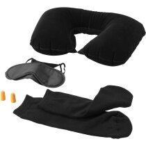 Set con antifaz, tapones, almohadilla y calcetines personalizado negro intenso