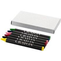 Caja de cartón con 6 ceras de colores personalizada gris