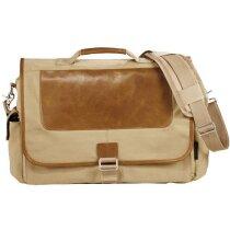 Bolsa para portátil de algodón y piel marrón claro