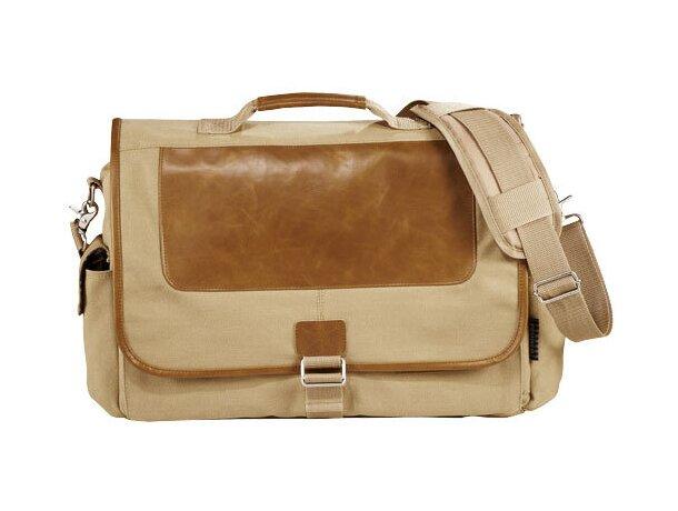 Bolsa para portátil de algodón y piel