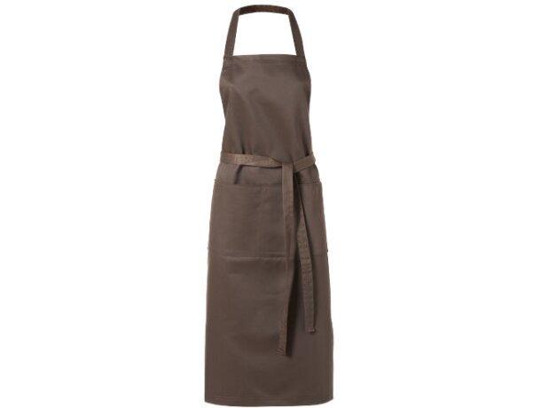 delantal de poliester con lazo trasero marrón