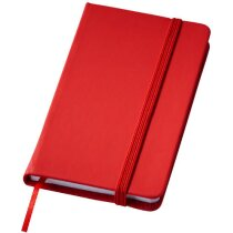 Libreta tamaño A7 con banda elástica personalizada roja