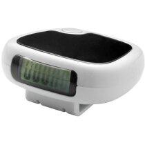 Podómetro con pantalla lcd y clip personalizado blanco