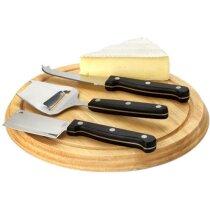 Set de quesos con tabla de cortar y cuchillo personalizado marrón