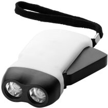 Linterna con dinamo 2 leds personalizada blanca