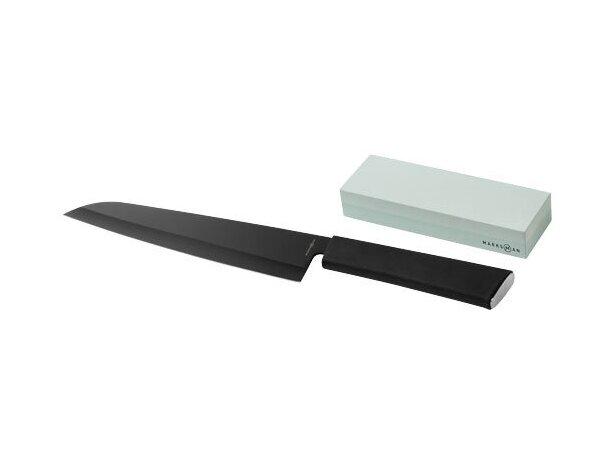 Cuchillo de chef con piedra de afilar personalizada negro intenso