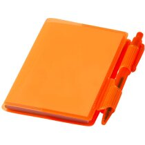 Cuaderno con bolígrafo mini personalizado naranja transparente