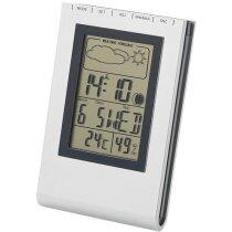 Estación meteorológica de sobremesa con fecha y hora plata personalizado